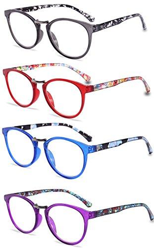 VEVESMUNDO Lesebrille Damen Herren Vintage Blumen Federscharnier Lesehilfen Retro Sehhilfen Brillen Arbeitsplatzbrille Schwarz Rot Blau Lila 1.0 1.5 2.0 2.5 3.0 3.5 4.0 (Lesebrillen 4 Stück, 4.0)