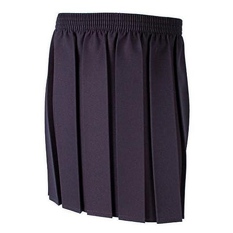 Girls School Uniform Box Pleat Skirt 2-16 years Black Grey Navy (15-16 years, Navy)