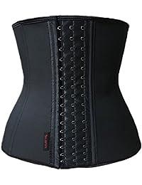 Dilanni faja transpirable para mujer, elástica, para Entrenamiento de cintura, XS a XXXXXXL, corsé modelador de encaje, con ballenas de acero