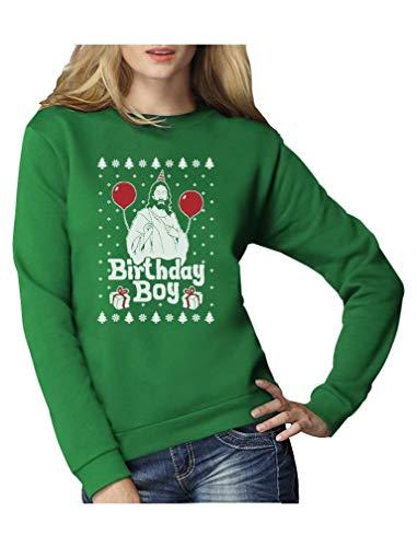 Green Turtle T-Shirts Jesus Christus Birthday Boy Witziges Weihnachten Design Frauen Sweatshirt Medium Grün