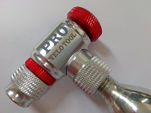 CO2Kompressor von Pro Velo Werkzeug–Schnell und einfach–Presta & Schrader Ventil Kompatibel–Fahrrad Reifen Pumpe für Road und Mountain Bikes–kein CO2Patronen (Reifen-gas-pumpe)