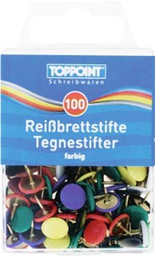 STYLEX 100 Reißbrettstifte - farbig sortiert (Reißnägel Reißzwecken Heftzwecken)