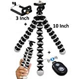 Techlife Octopus 10 Inches Height Gorilla Tripod Stand for Phones DSLR Cameras with Universal Mobile Holder Adapter, Bluetooth Shutter Remote Control