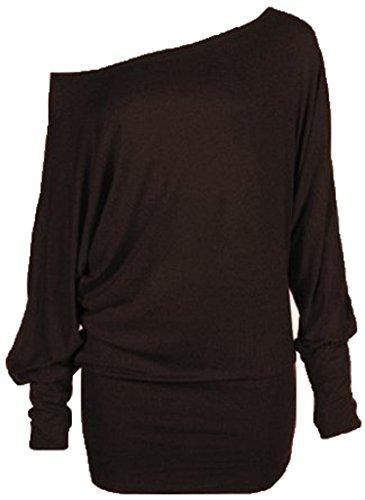 Mélanger lot de nouvelles femmes à la mode de l'épaule ample chauve-souris de mode sexy à manches longues soft touch haut robe casual de taille de plaine meilleurs femmes 36-42 Chocolat