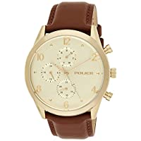 Police Men's Quartz Watch, Analog Display and Leather Strap P 15922JSG-22