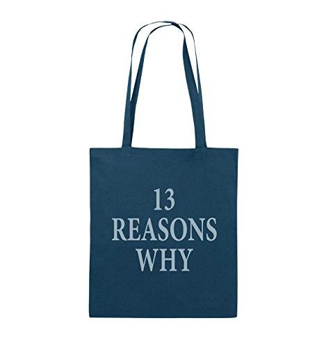 Comedy Bags - 13 REASONS WHY - TOTE MÄDCHEN - Jutebeutel - lange Henkel - 38x42cm - Farbe: Schwarz / Silber Navy / Eisblau