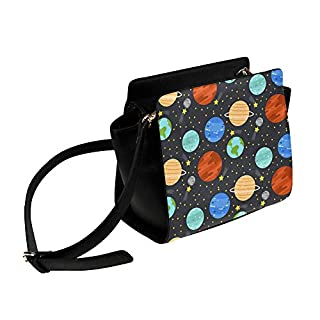Cartoon Space Shiny Solar System Planet Satchel Bag Crossbody Bags Travel Tote Bags Duffel Strap Shoulder Bags Luggage Organizer For Lady Girls Womens Work Shopping Outdoor