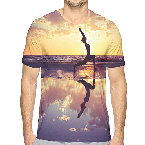 Butterfly-lady-print-tee (3D Printed T Shirts,Woman Practicing Yoga On Beach Sunset Dramatic Sky Water Reflection Image S)