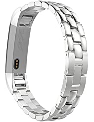 MoKo Fitbit Alta / Alta HR Correa - Universal Reemplazo SmartWatch Band de Reloj de Acero Inoxidable / Hebilla Doblable Accesorios para Fitbit Alta / Alta HR Smart Fitness Tracker, ( NO INCLUYE El RELOJ ), Plata
