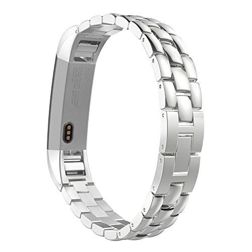 MoKo Armband für Fitbit Alta / Alta HR - Edelstahl Replacement Wrist Band Watchband Strap Uhrenarmband Erstatzband mit Metallschließe & Schnalle Watch Band für Fitbit Fitness Armband Alta, Silber