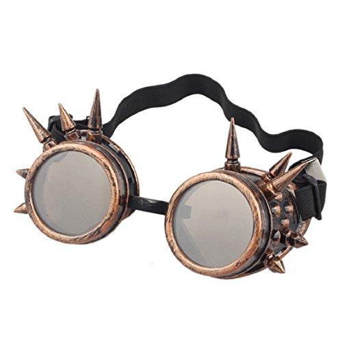 Sannysis Rivet Steampunk Winddicht Spiegel Weinlese-gotische Objektive Goggles Glasses (Red Copper) -