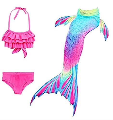 JameStyle26 Mädchen Meerjungfrau Cosplay Kostüm 3-teilig Bikini Bademode Badeanzug Set Fisch Schuppe (Pink, 150)