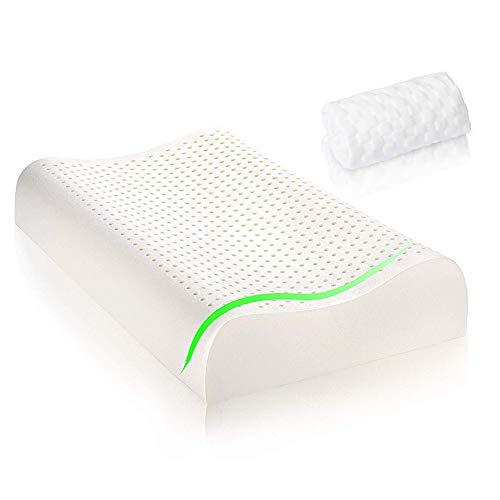 WAZZN Naturlatex Kissen Orthopädische Cervical Schlafkissen Nackenkissen, Beste Nackenkissen Für Nackenstützkissen, Ergonomisches Design Für Nackenschmerzen (60 cm * 40Cm * 12 cm) -