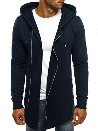 OZONEE Herren Kapuzenpullover Hoodie Sweatshirt Pullover Assassin´s Hoodie ATHLETIC 0890 DUNKELBLAU M