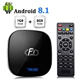 A95X F1 Android 8.1 TV Box Amlogic S905W Processeur Quad-Core Cortex-A53 CPU 1GB RAM 8GB ROM 2.4 GHz WiFi 3D 4K HDMI 2.0 100 M LAN Ethernet