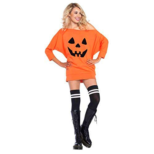 Qiusa Womens Halloween Cute Kürbis Print Langarm Sweatshirt Pullover Tops Shirt (Farbe : Orange, Größe : X-Large)