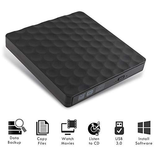 BEYAWL unità Dvd Esterna, Slim Portable USB 3.0 External Dvd/CD Drive Write Lettore Dvd ad Alta velocità di trasferimento per Mac OS / Win7 / Win8 / Win10 / Vista PC Desktop Laptop (06)