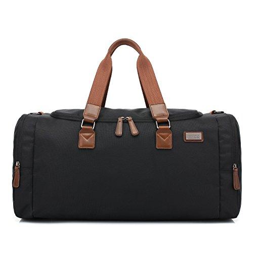 Amoyie Unisex Sporttasche Training Bag Herren und Damen Umhängetasche Duffel Fitness Gym Tasche Reisetasche Handtasche Fußballtasche Fitnesstasche mit Schuhenfach Schwarz