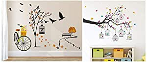 Amazon Brand - Solimo Wall Sticker for Living Room Ride Through Nature and Birdie House Combo