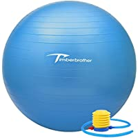 Timberbrother Anti-Burst Exercise Swiss Ball with Pump for Yoga, Pilates, Fitness, Physical Therapy, Gym and Home Exercise