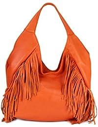 Belli bellissima ® «b» étui sac à shopping en cuir nappa à franges couleur 34 x 23 x 17 cm (l x h x p)