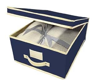 kreher boite de rangement pour v tements en tissu respirant avec surpiq res et parois renforc es. Black Bedroom Furniture Sets. Home Design Ideas