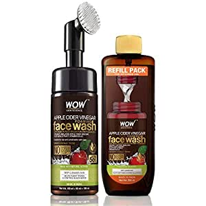 WOW Skin Science Apple Cider Vinegar Foaming Face Wash Save Earth Combo Pack- Consist of Foaming Face Wash with Built-In Brush & Refill Pack - No Parabens, Sulphate, Silicones & Color - Net Vol. 350mL
