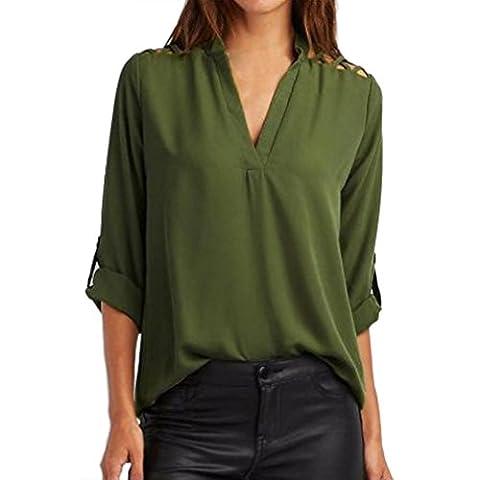 Amlaiworld Femmes en mousseline de soie solide Chemise t-shirt creux à manches Tops blouse (L, Vert militaire)