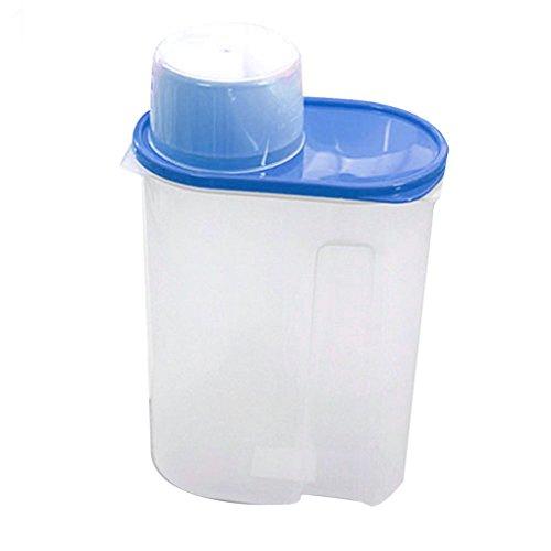 sukisuki 1,9/2.5L arroz granos de cereales dispensador de almacenamiento de alimentos secos contenedor caja sellada con tapa, plástico, azul, 2,5 L
