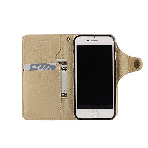 Coque iPhone 7 Portefeuille Etui Housse [Miroir Cosmétique] Amovible Cuir PU Premium Portable Pochette de Protection Case Cover pour iPhone 7 (4.7 Pouces) Sunroyal® 3 en 1 Multifonction Porte Carte Wa Pochette-01