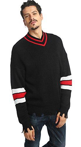 Pizoff Herren Oversize schwarz V neck Pullover mit tief sitzende Schulternähte und streifenmuster distressed Saum (Jersey Distressed V-neck)