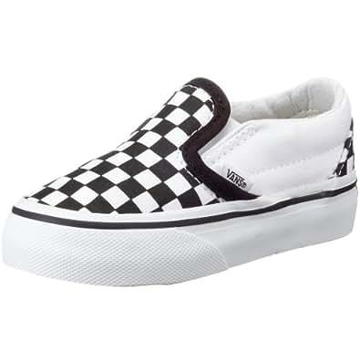 VANS K CLASSIC SLIP-ON VEYB6H6, Baskets mode mixte enfant - damier noir et blanc/blanc, 32.5 EU