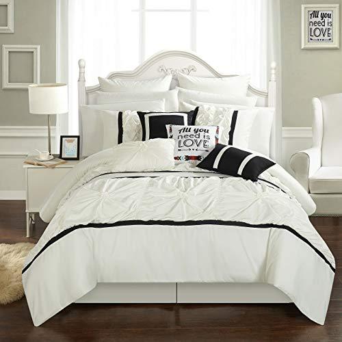 Chic Home cs2766-an Ashville (16-teiliges Bett in einem Beutel Tröster Set, weiß, Queen -