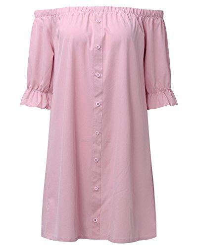 StyleDome Damen Bardot-Ausschnitt Schulterfrei Chiffon Kurzärmel Oberteil Party Abend Mini Kleider Rosa