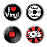 4 Vinyl Music 80er Buttons #1 (2,5cm) - Best Reviews Guide