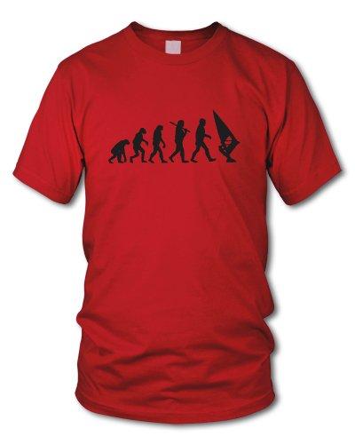 shirtloge - EVOLUTION WINDSURFER - KULT - Fun T-Shirt - in verschiedenen Farben - Größe S - XXL Rot (Schwarz)