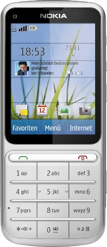 Nokia C3-01 Touch and Type Handy (6,1 cm (2,4 Zoll) Touchscreen, 5 Megapixel Kamera) silber