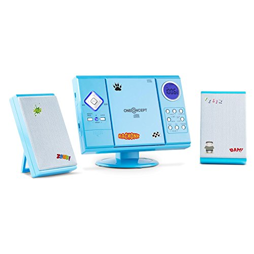 OneConcept V-12 - Stereoanlage Blue Edition mit Weckalarm, Sticker-Set, MP3-fähiger CD-Player, USB-Port, UKW/MW-Radiotuner, SD-Kartenanschluss, AUX-In, Fernbedienung, Wandmontage möglich, blau