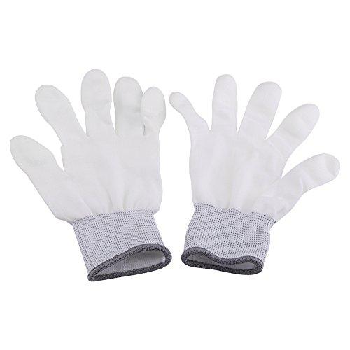 Akozon Baumwollhandschuh, 1 Paar antistatische rutschfeste Handschuh PU beschichtete Finger Teil für elektronische Arbeiter(L)