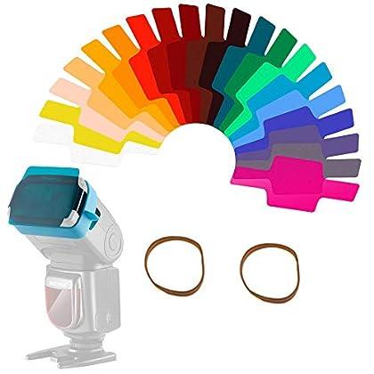 20 Piezas Filtro de Gel Kit Cámara Flash Speedlite Color Iluminación, Lámina de Corrección de Color Transparente Láminas de Plástico con 2 Ataduras