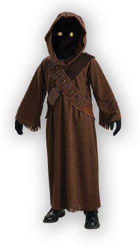 Original Lizenz Star Wars Jawa Kostüm Jawakostüm für Kinder Tatooine glühende Augen leuchtend Gr. 98/104, 116/122, 134/140, - Jawa Kostüm Augen