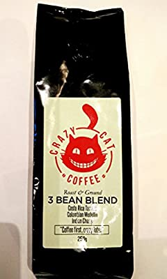 Limited Edition Crazy Cat Brexit Blend Ground Coffee, Non Bitter, Medium Strength 4, Full Bodied Flavour, Roasted and Ground to Perfection 250g by Crazy Cat Coffee Ltd
