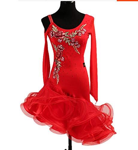 ance Kleid Frauen Mädchen Rumba Cha-cha Kleider Diamant aushöhlen Ballsaal Wettbewerb Kostüm,Orange,XL ()