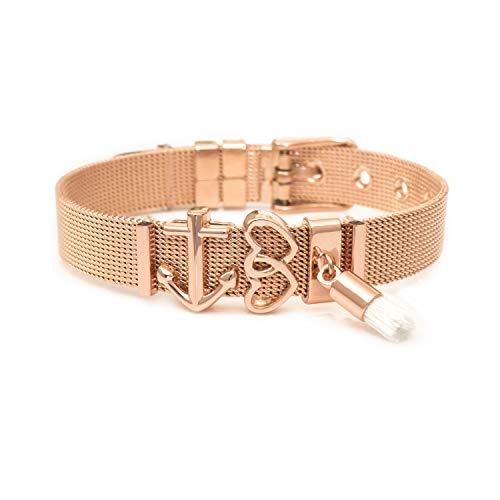THIORA® - Mesh Armband Frauen   Individuelle Anhänger Charms   Größenverstellbar   Damen Charmband   Bracelet ('Ibiza' - Rosegold Set)