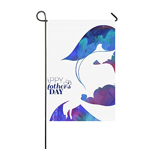 Dekorative Acryl-Gemälde mit Mutter-Silhouette mit Ihrem Baby Garten Flagge, Haus Hof, Garten, Garten, Garten, Dekoration, saisonale Willkommensflagge, 30,5 x 45,7 cm, Frühlingssommer-Geschenk -