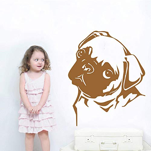 Ajcwhml Künstler Dekoration Tier Mops Kopf Aufkleber Wandtattoo Vinyl Aufkleber Haus Dekoration Wandbild Poster 42X51 cm