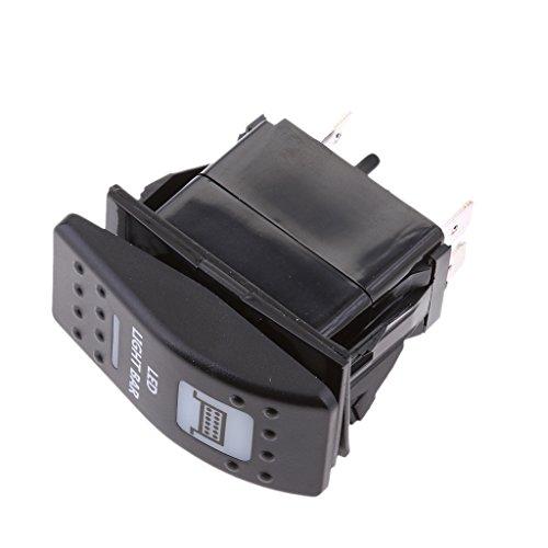 MagiDeal Auto KFZ Boot LED beleuchtet Licht Wippschalter Ein/Aus Schalter 12V 20A Wasserdicht Lichter- Schwarz -