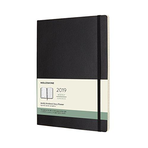Moleskine Wochen Notizkalender, Taschenkalender, 12 Monate, 2019, X-Large, Soft Cover, Schwarz