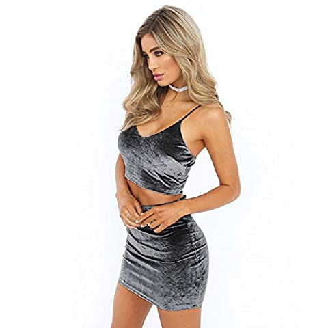 Romacci Sexy Cami Vest +Pencil Skirt, Women's Velvet Crop Deep V Neck Sleeveless Top Bodycon Skirt Set Two-Piece Set S-L,Pink/Brown/Grey