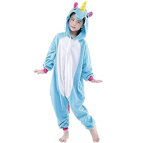 Tongchou Pyjama Combinaison Animaux Polaire Pour Enfant Deguisement Enfant Licorne Bleu Taille 140